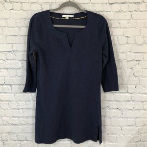 BODEN Navy Cotton 3/4 Sleeve Y Neck Tunic Top